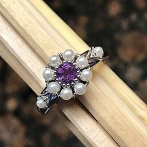 Natural Freshwater Seed Pearl, Purple Amethyst 925 Solid Sterling Silver... - $69.29