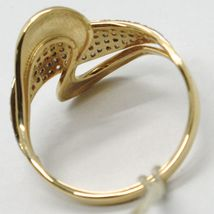 SOLID 18K YELLOW GOLD BAND ZIRCONIA RING, ONDULATE, WAVE, WOVEN, MADE IN ITALY image 4
