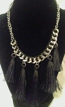 NEW GUESS Tassell Silver Black Necklace Orig $40 - $20.79