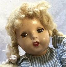 """Vintage 14"""" Shirley Temple Heidi Composition Doll Marked X Delicate 1930s - $29.45"""