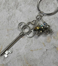 Skeleton Key Trefoil Crystal Beaded Handmade Keychain Split Key Ring Blu... - $14.54