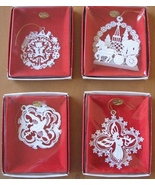 4 Christmas Tree Ornaments White Enameled Brass... - $19.93