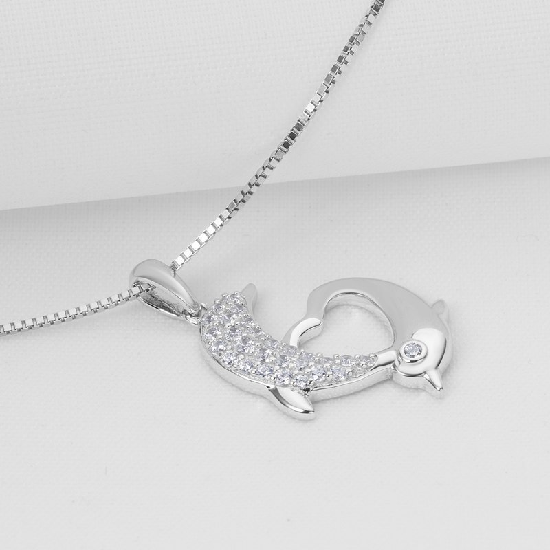 925 Sterling Silver Dolphin Heart Shaped Women Necklace Pendants image 2