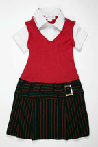 MY MICHELLE GIRLS 7  RED BLACK STRIPED DRESS DROPPED WAIST BACK TO SCHOOL - $12.86