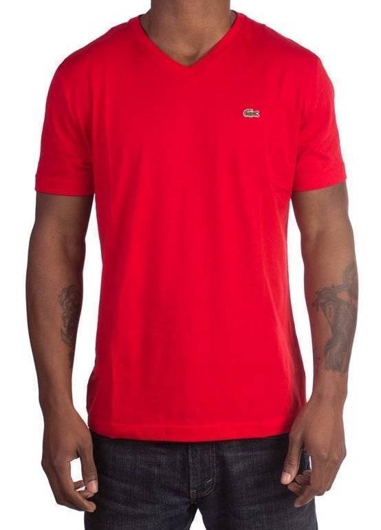 NEW LACOSTE MEN'S PREMIUM PIMA COTTON V-NECK SHIRT T-SHIRT RED CERISE SIZE XL