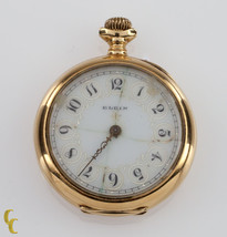 14k Yellow Gold Elgin Open Face Pocket Watch 15 Jewel Size 0S Monogramme... - $544.50