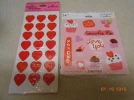 New lot 2 packs Hallmark Valentine Stickers XOXOXO red hearts decorate k... - $4.94