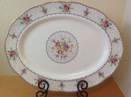 "Royal Albert Petit Point 15"" Oval Serving Plate Platter Needlepoint England - $46.74"