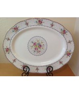 "Royal Albert Petit Point 15"" Oval Serving Plate Platter Needlepoint England - $46.74"