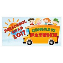 School Bus Class of 2017 Preschool Graduation Banner Personalized Backdrop - £16.88 GBP