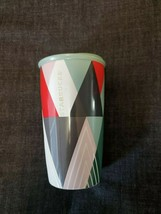 STARBUCKS Coffee Mug Cup Travel Tumbler Geometric Triangles Etched Letters - $35.29