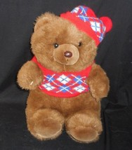 VINTAGE 1987 COMMONWEALTH BROWN TEDDY BEAR SWEATER HAT STUFFED ANIMAL PL... - $31.09