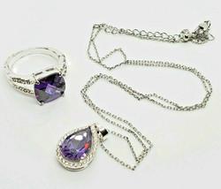 Vintage Silver Tone Amethyst Glass Gemstone Necklace & Ring Demi-parure Set - $14.84