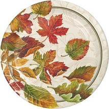 Colors of the Wind Thanksgiving Fall Leaves 8 Ct Dinner Paper Plates - $4.06