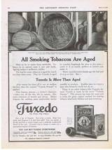 Original 1916 TUXEDO pipe tobacco being aged in wood open hogshead Print Ad - $9.99