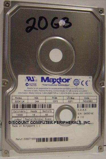 92041U4 Maxtor 20GB 3.5in IDE Drive HDD Tested Good Free USA Shipping