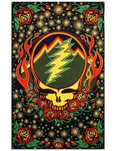 Sunshine Joy Grateful Dead 3D Steal Your Face Scarlet Fire Tapestry Tablecloth W