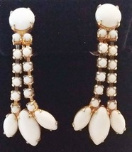 Vintage Gold-tone Milk Glass Dangle Clip-on Earrings - $10.00