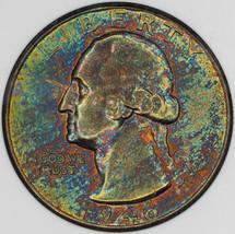 1946 WASHINGTON SILVER QUARTER 25 CENTS AU MONSTER MULTI COLOR TONED OBV... - $197.99