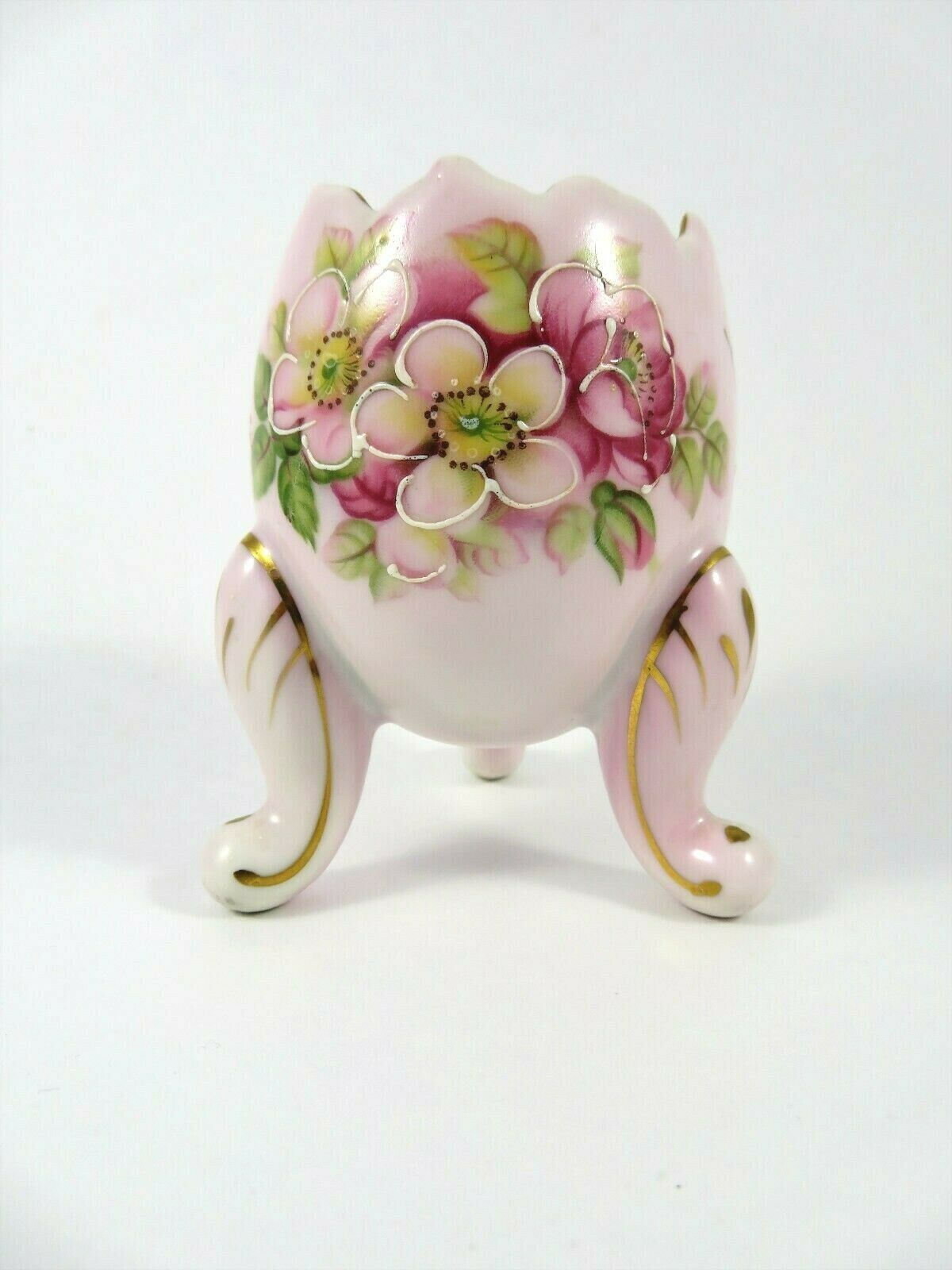 Primary image for Inarco Vintage Porcelain Egg Mini Planter Pale Pink Flowered 3 Legged E-116/S