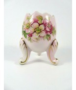 Inarco Vintage Porcelain Egg Mini Planter Pale Pink Flowered 3 Legged E-... - $18.15
