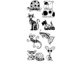 Inkadinkado Patterned Pets Clear Stamp Set #99109