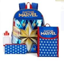 Captain Marvel Girl School Backpack 5 Piece Set Snack Tote Bottle Utility case - $19.77