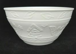 "Gibson Stoneware Serving Mixing Bowl White Embossed Flowers Birdhouse Bird 8.5"" - $15.04"