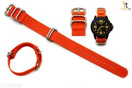 22mm para Luminox Nailon Tejido Naranja Correa Reloj de Pulsera 4 Acero - $25.24