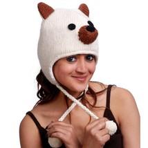 FOX ANIMAL HAT ADULT Warm Lined White Knit Laplander Ski Cap Wool Snowbo... - $11.88