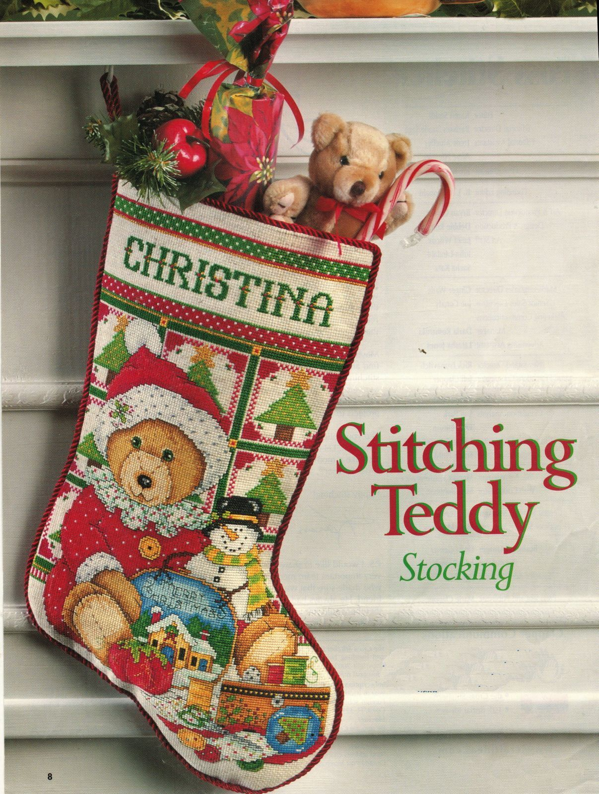 Cross Stitch Santa Teddy Bear Stocking Xmas Ornaments King of the Grill Pattern - $9.99
