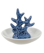Ocean Blue Coral Trinket Dish Stoneware 4 Inches - $25.98