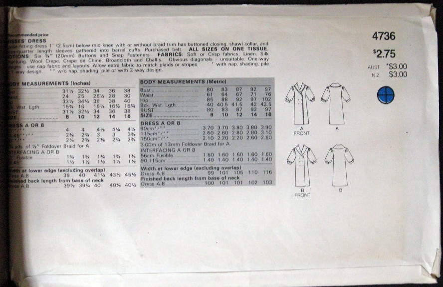 Sewing Pattern Butterick 4736 Misses Dress sz 8-16 sewing pattern