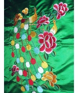 GORGEOUS Vintage Green Satin Embroidered PEACOCK Fabric with - $145.00