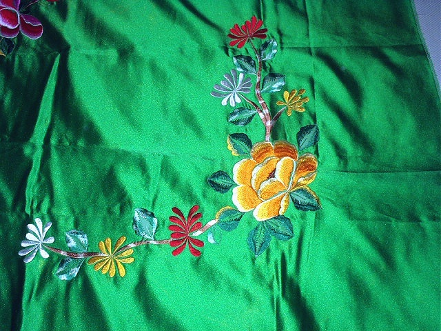 GORGEOUS Vintage Green Satin Embroidered PEACOCK Fabric with