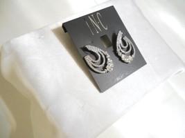 """INC 1-1/4"""" Silver-Tone Crystal Triple-Row Hoop Earrings B741 $29 - $11.28"""