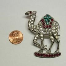1940s Vintage Pot Metal Red Green Rhinestone Camel Pin Brooch ORA Ralph ... - $36.61