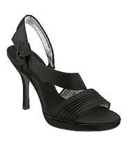 NIB Nina GESALYN Sandals Black Luste Satin Medium Heels Pumps Evening Dress 7 M  - $38.52