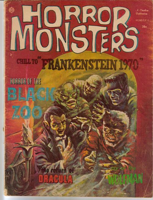 Horror Monsters #6 Frankenstein 1970 Dracula Wolfman Black Zoo