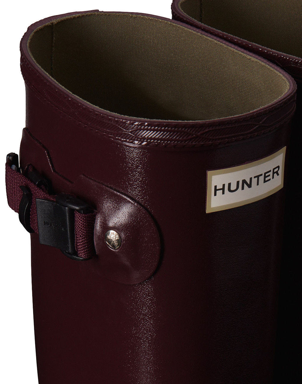 HUNTER ORIGINAL TALL NORRIS FIELD RASPBERRY GLOSS WELLINGTON BOOTS Welly RED