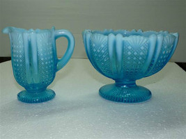 Fine Vintage English L.Blue Pressed Vaseline Glass Milk & Sugar Set  Iri... - $125.69