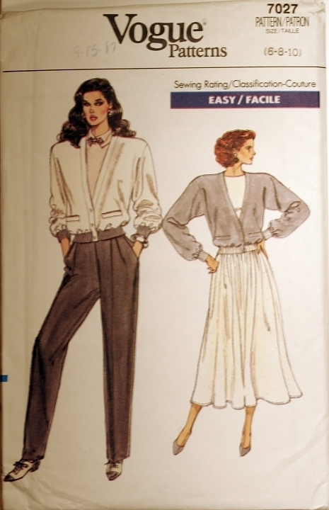 Vogue 7027 Misses Jacket, Skirt & Pants size 6-8-10 sewing pattern