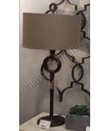 Circle Table Lamp Antique Bronze 35H Hammered Metal Cast Iron Column Dru... - $367.40