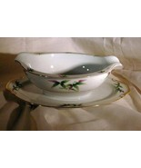 Sears Harmony House Mandarin Gravy Boat With Attached Under Plate Bamboo - $8.81