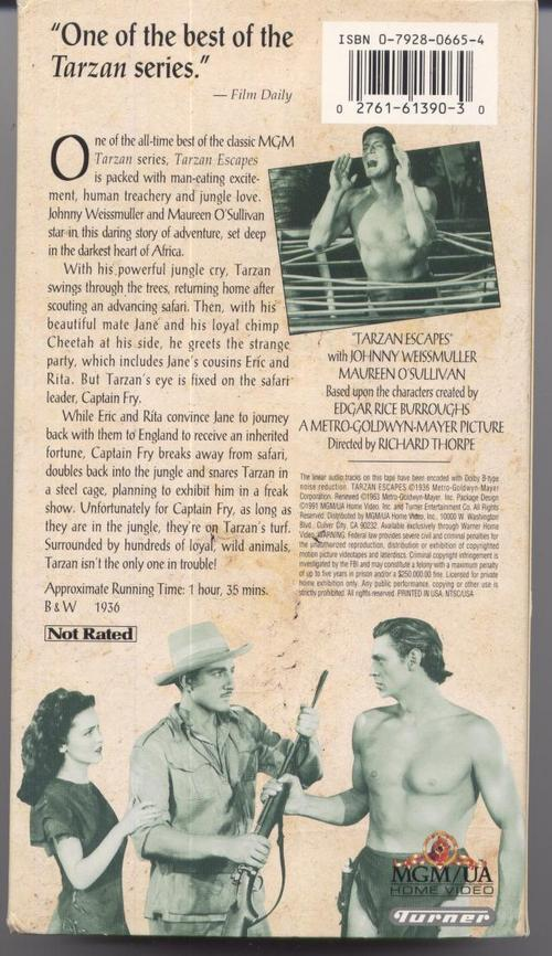 Tarzan Escapes VHS  Johnny Weissmuller Maureen O'Sullivan Jungle Adventure