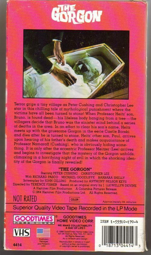 The Gorgon VHS Rare Peter Cushing Christopher Lee Hammer Films Classic Horror
