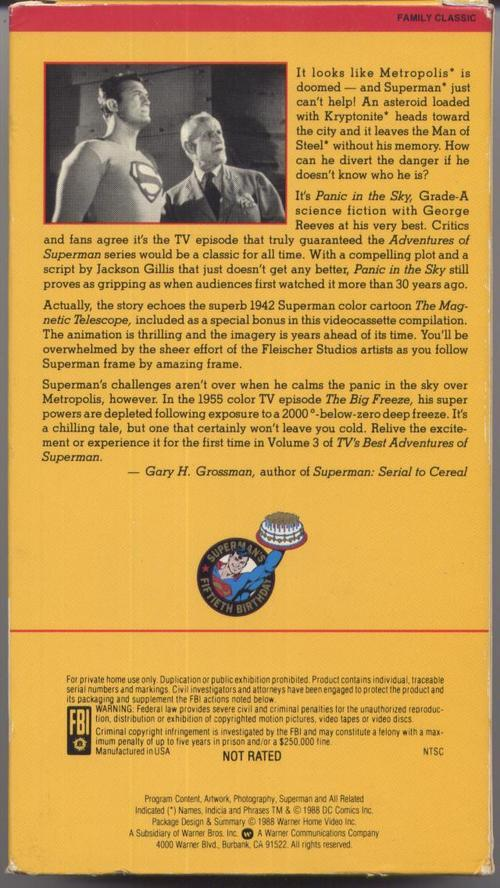 1950'S TV'S Best Adventures Of Superman Vol#3 VHS Black & White