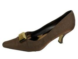 Valenti Franco women's shoes heels brown metallic textile upper slip on ... - $23.31