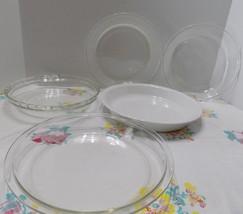 5 Vintage Pie Dishes Pie Plates  3 Pyrex 1 Fire King  1 White Corning  9... - $4.72