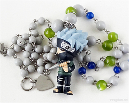 Kakashi Figure Necklace, Anime Jewelry, Japan, Otaku Gifts, Handmade - $39.00